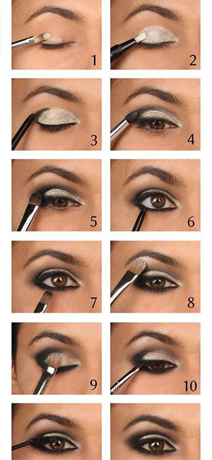 eye makeup - silver color toturial