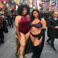In Times Square Wearing Just Lingerie
